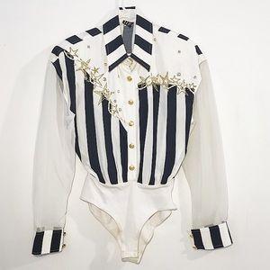 Western striped bodysuit rodeo cowboy long sleeve